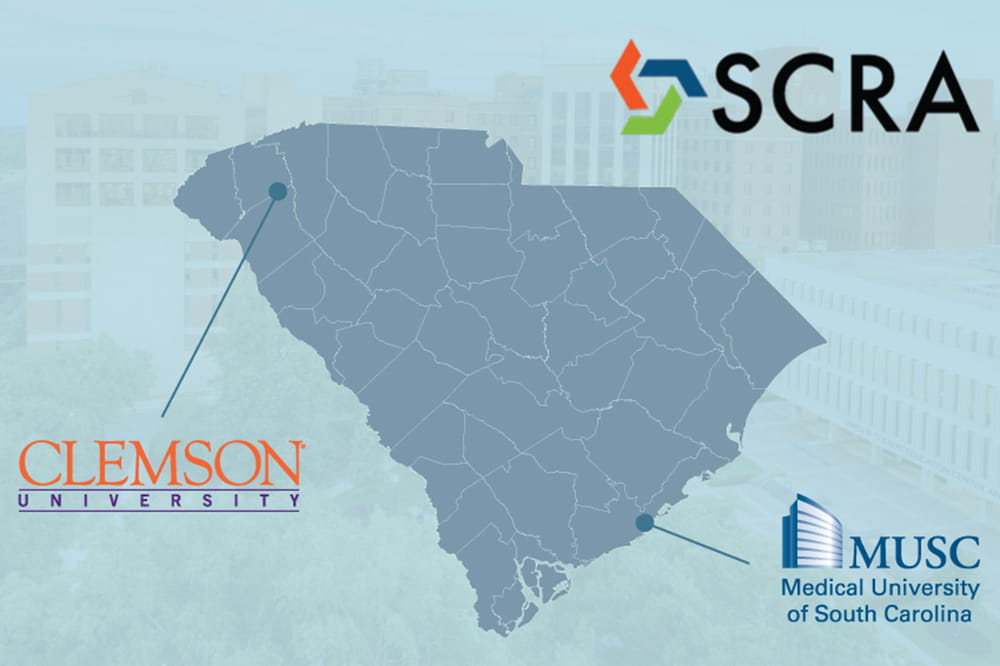 map of South Carolina with logos of SCRA, Clemson and MUSC