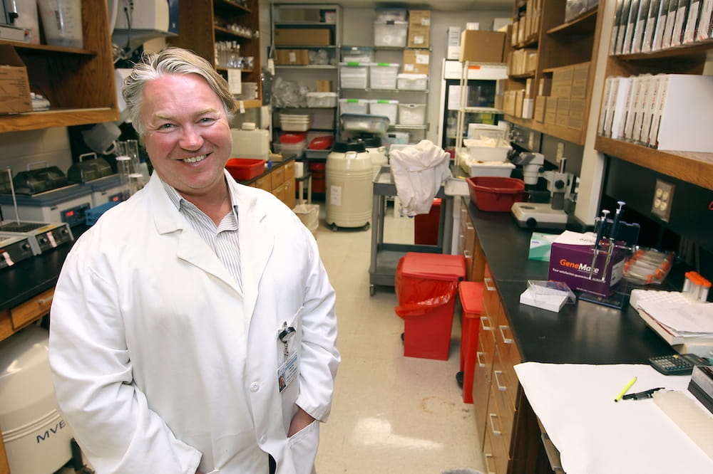 Dr. Stephen Duncan, chair of the Department of Regenerative Medicine and Cell Biology at MUSC, in his laboratory