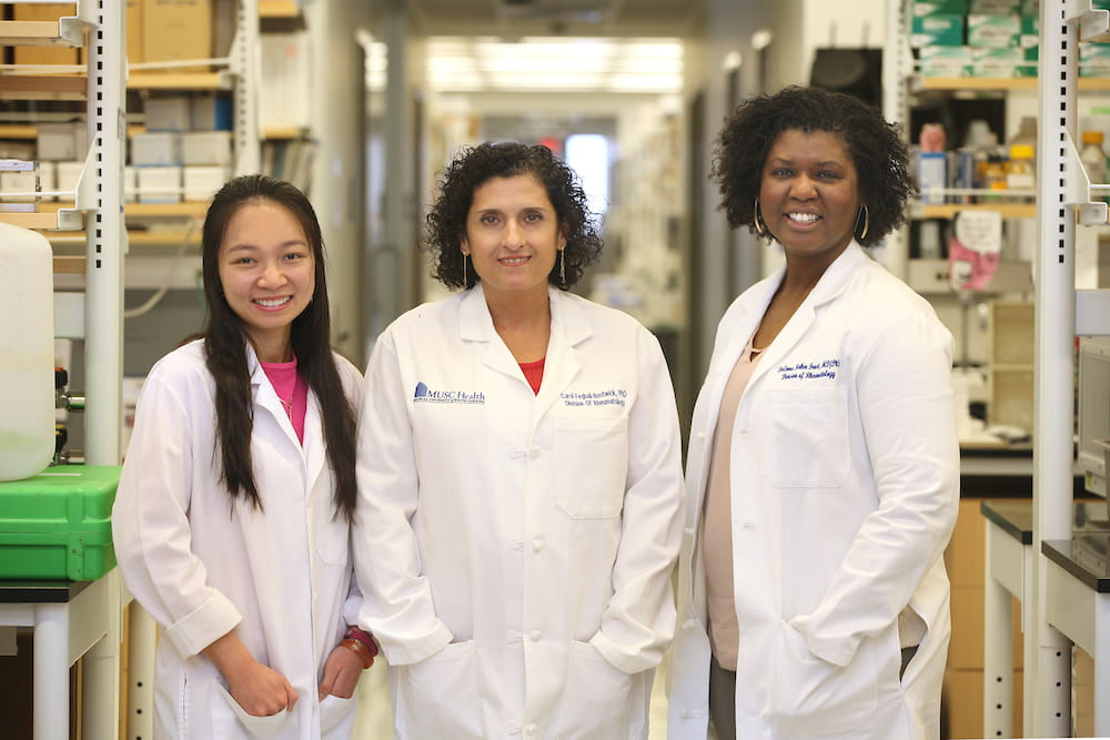 TL1 trainee Xinh Xinh Nguyen (left) shadowed KL2 scholar Dr. DeAnna Baker Frost (right) during her Translational Sciences Clinic rotation. Dr.Carola Feghali-Bostwick (center), who is associate director of the TL1 program, mentors both Nguyen and Baker-Frost.