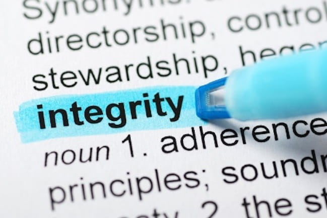 highlighting the word integrity