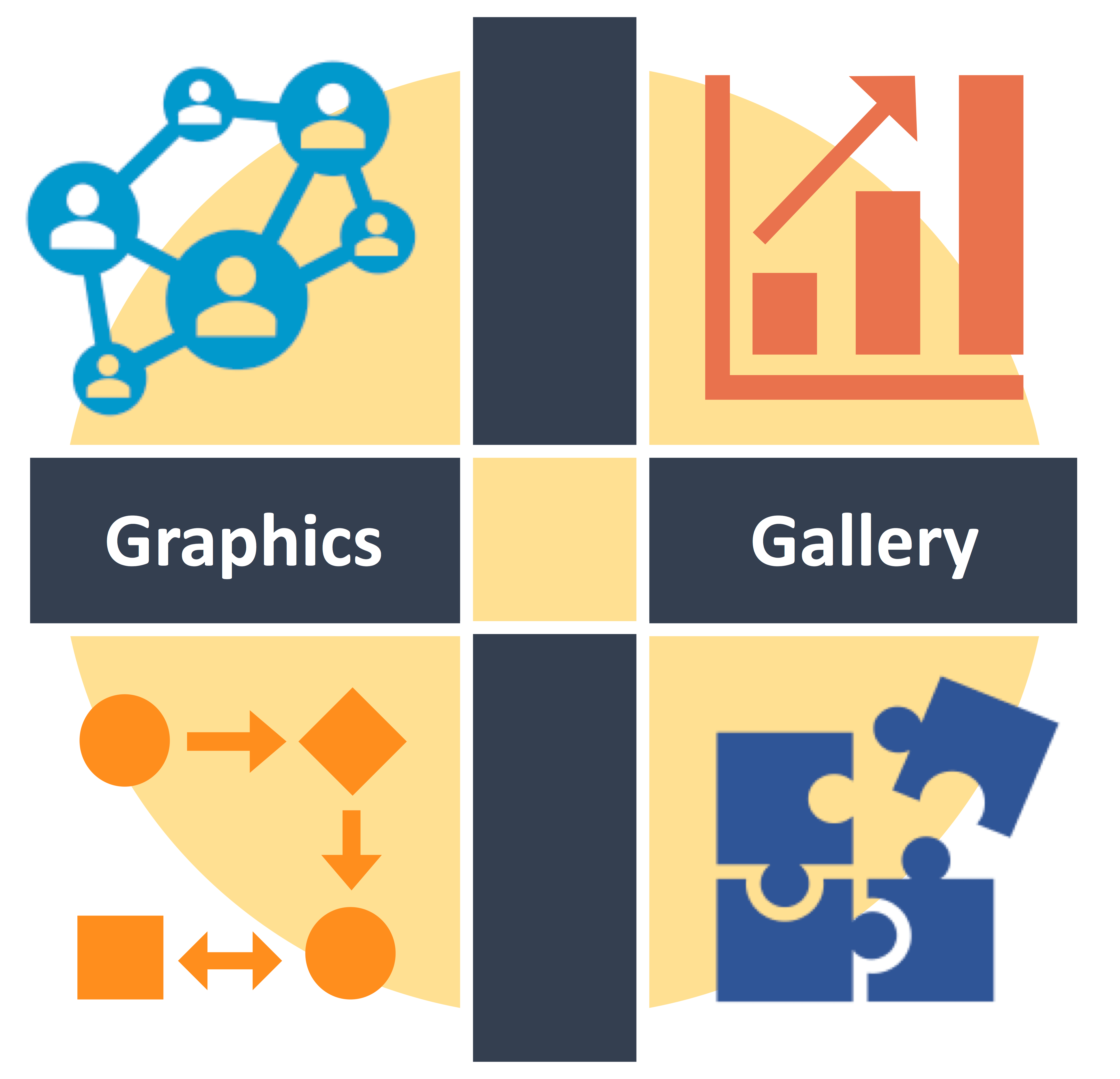 charts, graphs and icons advertising the graphics gallery