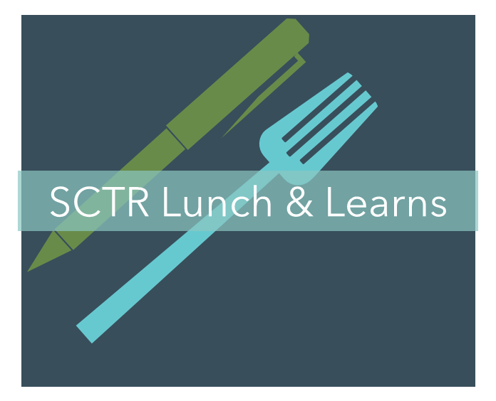 A green pen and a light blue fork on a dark gray background with a partially transparent teal title bar for SCTR Lunch & Learns